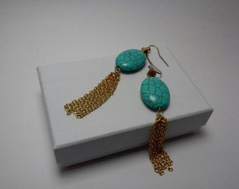 Earrings in Turquoise and Gold Chains: Stones & Chains
