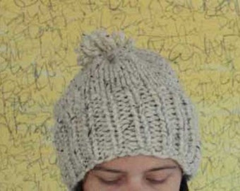 Hand Knit Hat - Cream