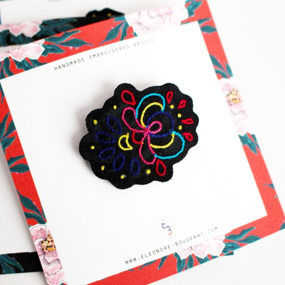 """Embroidered brooch """" Russian inspiration no4 """""""