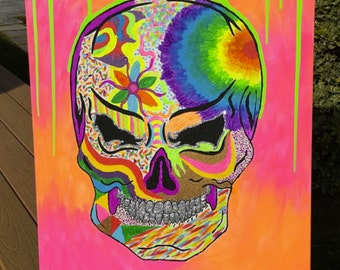 Neon Psychedelic Skull Canvas