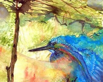 "spirtual Beautiful Colorful Blue bird Kingfisher Mystic spirit Original Watercolor Painting Art Print 9x13"" Modern wall art home Décor"