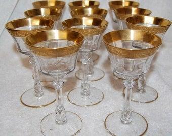 Tiffin Gold Rimmed Wine Stems--set of 11