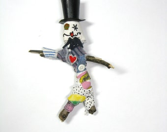 Voodoo Doll with Top Hat, Handmade Poppet, Mixed Media, Dapper Dan, Formal Attire, Groom Gift, Outsider Art, Bridal Shower Gift, Gag Gift