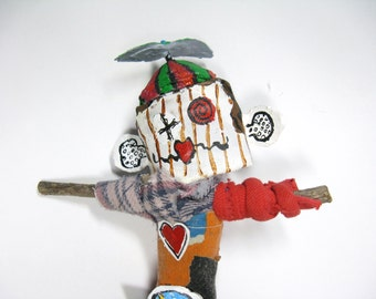 Doll with Propeller Hat, Office Party or Gag Gift, Outsider Art Figure from Upcycled Materials, Poppet or Voodoo Doll