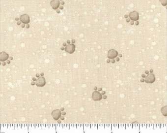 Pampered Pooch by Steve Haskamp For SPX Fabrics / Dog Paws Cotton in Beige Remnant