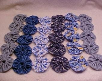 "Blue Navy 1 and 3/4"" Fabric Flowers 30 YoYo Vintage Quilt Headband Wedding Rosette Hair Clip Bow Bobby Pin Wholesale Handmade A5"
