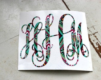 MONOGRAM - Decal - Lily Pulitzer Inspired Vinyl - Customize Yours