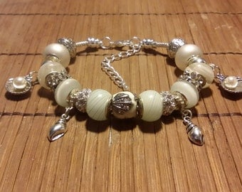 Euro Bracelet, White, Creations by Cris