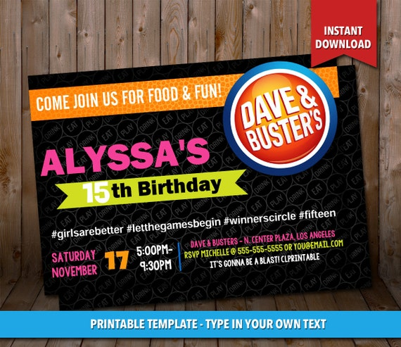 Dave And Busters Birthday Invitation INSTANT By CLPrintable