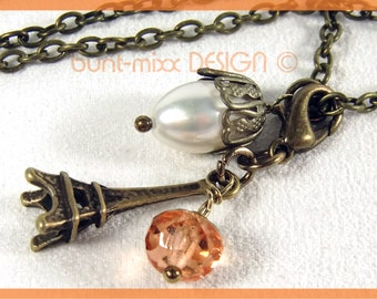 Vintage style Pearl necklace + charm pendant Eiffel Tower Pearl colored-mixx-DESIGN
