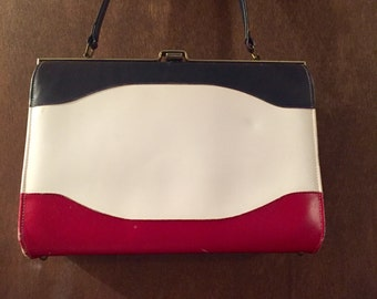 1950s-60s Vintage Red White and Blue Retro Americana Handbag