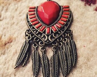 Narragansett Long Boho Feather Pendant Necklace
