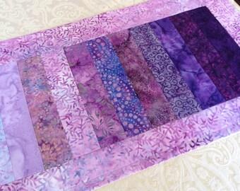 Lavender batik table runner