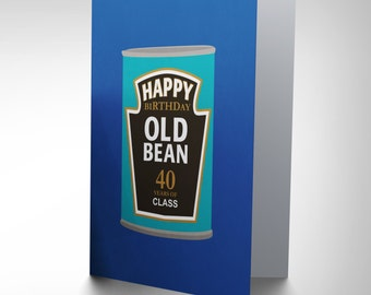 GREETINGS CARD Birthday Gift Age Old Bean Friend 40 CP2801