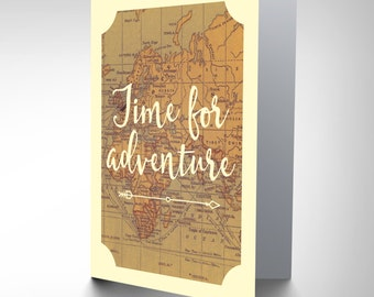 Bon Voyage Card - Leaving Adventure Old Map Blank Card CP3021