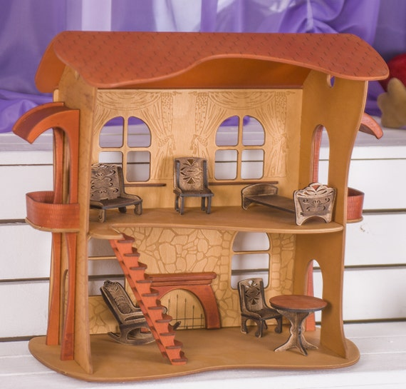 Wooden Dollhouse Kit Handmade Doll Furniture Included Doll