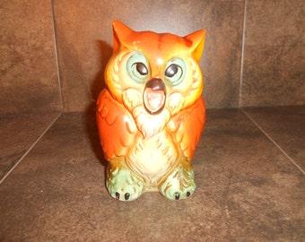 Vintage Screeching Owl Coin Bank