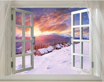 Window Onto Winter Huts Scenic Poster 24x36 Sunrise Snow Sky Golden Rare