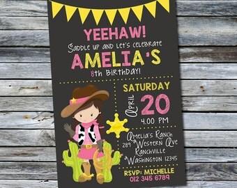 Cowgirl Invitation / Cowgirl Birthday Invitation / Western Invitation (Personalized) Digital Printable File