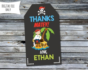Pirate Thank You Tags / Pirate Party Bag Tags (Personalized) Digital Printable File