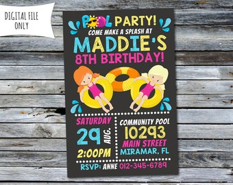 Girls Pool Party Invitation / Pool Party Invitation / Pool Party Birthday Invitation (Personalized) Digital Printable File