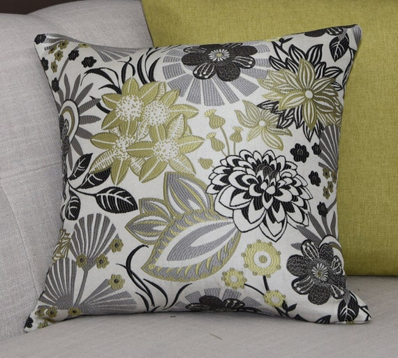 Charcoal Grey Decorative Pillows : Decorative Pillow Cover Grey Charcoal Green Lime Off by 4YourDecor