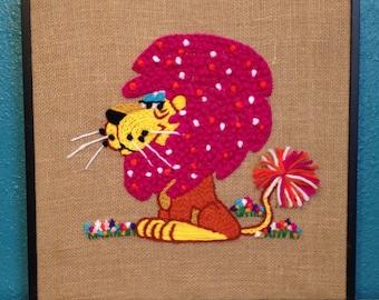 Framed Finished Pink Modern Lion Animal Crewel Creatures Vintage Pattern Burlap Embroidery