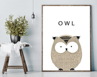 Owl, Owl Poster, Nursery, Bird, Owl Sketch, Owl Print, Owl Art, Printable Poster, Modern Decor, Wall Decor, Printable Wall Art, Gift