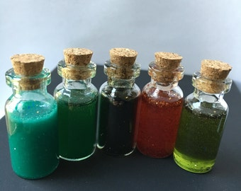 Glass and Resin Glittery Potion Bottles