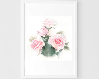 "Original flower watercolor,flower painting,7""x7"",garden,home decor"
