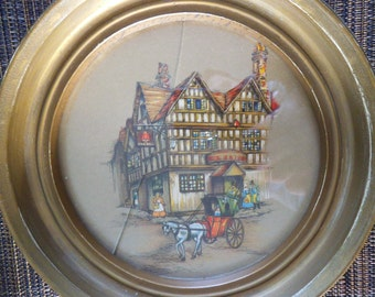 The Bell Inn - Circular Lithograph Signed by Clyde Cole 1940's