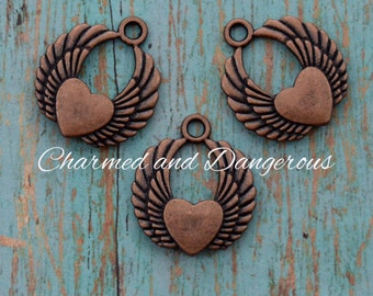 10 Copper Heart with Wings charms (CM34)