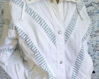 80s Preppy White Bomber Style Jacket
