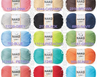 100% Cotton Yarn Knitting Crochetting by Nako Solare 100gr 380m