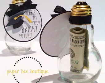 Graduation Money Holder- Glass Lightbulb Jar w/Gift Tag Card
