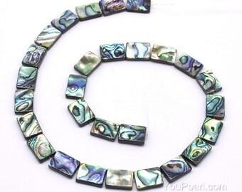 10x14mm rectangle shape paua shell beads, rainbow abalone paua beads, genuine loose shell full strands, craft supplies, ABA1010
