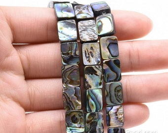 8x10mm paua shell, rectangle loose genuine abalone shell, abalone paua beads for necklace, wholesale shell jewelry supply, ABA1008