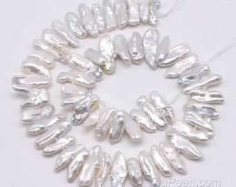 Biwa pearls, white freshwater pearl, center-drilled pearls, natural irregular Biwa pearls, genuine pearl full string on sale, FW500-WS