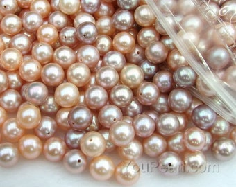 AA+ 7-7.5mm round pearls, pink lavender natural half hole pearls, cultured freshwater round loose pearls, half drilled pearl beads FLR7075-M