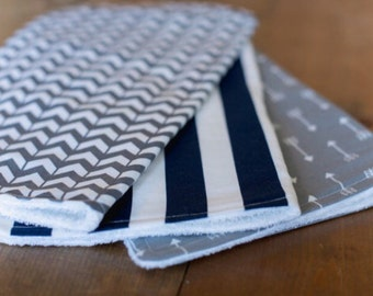 Set of 3 Baby Boy Burp Cloths - Navy Stripe, Gray Herringbone, Gray Arrow