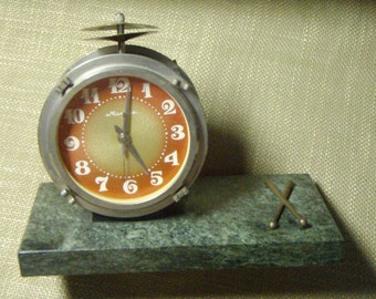 Vintage USSR Clock Molnija Working - 1970s - from Russia / Soviet Union / USSR