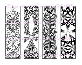 printable bookmark coloring page book mark adult instant download digital diy art therapy stress colouring jpeg