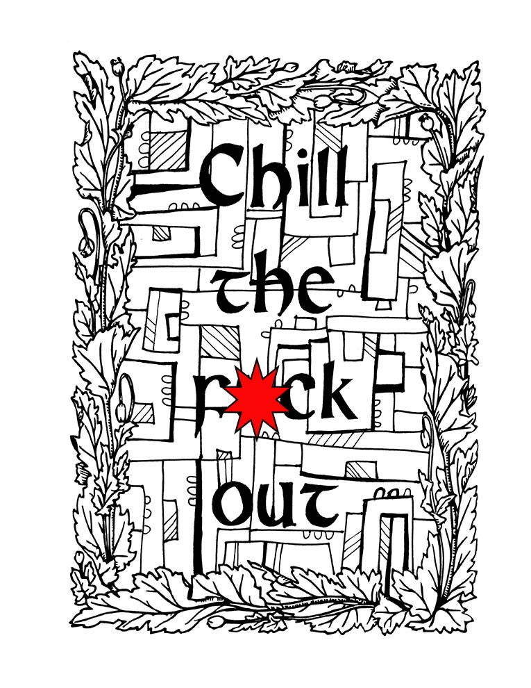 Swear Word Coloring Book Page Printable Chill the fck out