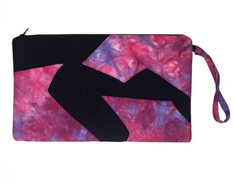 Pink Clutch Bag with Tie Dye, Wristlet Clutch Purse - Pink, Blue and Black