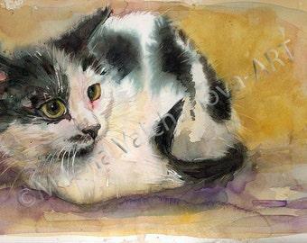 "SALE!!Black and White cat, Watercolour original painting, Cat Lovers Gift,9""x15,3""( 23x39sm), Cat Painting,Original watercolor artwork"