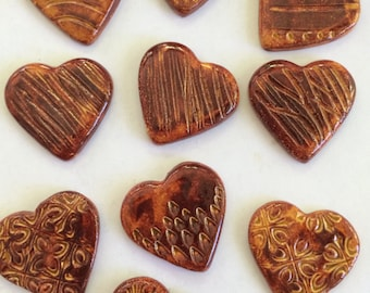 10 Handcrafted Dark Amber Ceramic Heart Tiles Can Be Used In Mosaics And Other Mixed Media Art
