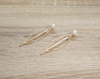 Pearl Golden Hair Clips, Gold Bridal Hair Pins, Simple Pearl Hair Pins, Gold Pearl Bobby Pins, Ivory Pearl Bobby Pins, Ivory Pearl Hair Pins
