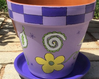 "8"" purple checkered clay flower pot"