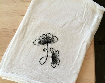 Flower Embroidery Flour Sack Kitchen Towel