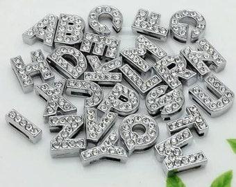 Free shipping 130pcs 8mm slide alphabet letters for 8mm slide bracelet Jewerly